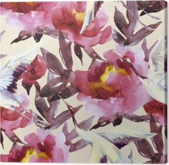 Obraz na Plátně Ručně malované akvarel pivoňky a jeřábové ptáky