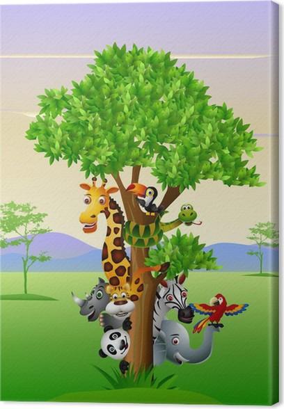 Obraz na plátně Různé legrační kreslený safari zvířata schovat za stromem - Savci