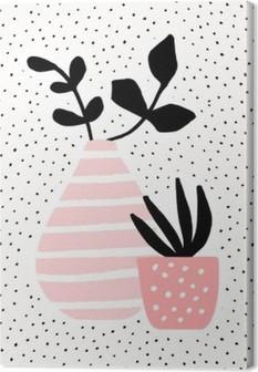 Obraz na plátně Růžová Váza a Pot s rostlinami