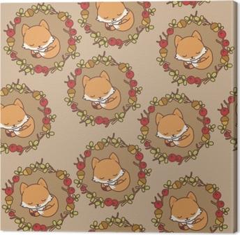 Obraz na plátně Vyšívací spací liška a květiny bezešvé vzor. módní ... 86d1eb07bc