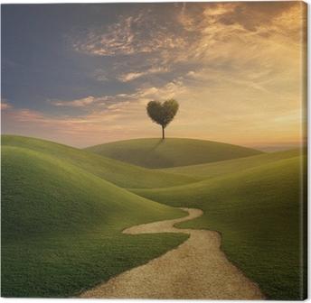 Obraz na Plátně Strom srdce na kopci