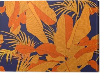 Obraz na plátně Trendová tropických tkanina bezešvé vzor, červený palmové listy na tmavém pozadí námořnické, vektorové ilustrace