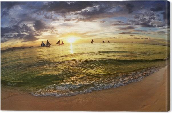 Obraz na plátně Tropická pláž při západu slunce - Prázdniny
