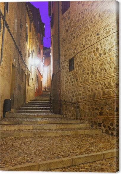 Obraz na plátně Ulice starého evropského města v noci. Toledo - Evropská města