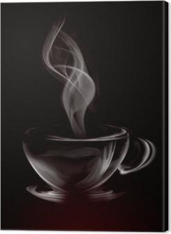 Obraz na Plátně Umělecké Ilustrace Smoke šálek kávy na černé