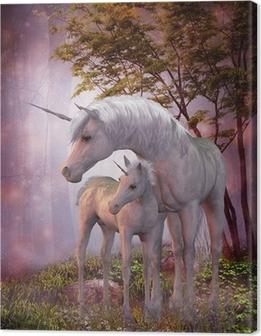 Obraz na Plátně Unicorn Mare a hříbě