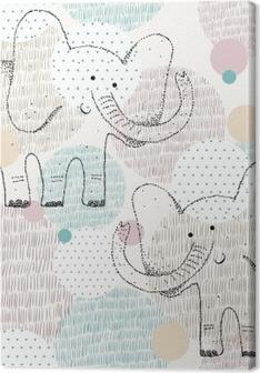 Obraz na plátně Vektorové bezešvé geometrické vzorek se slonem