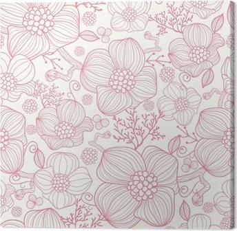 Obraz na Plátně Vektorové červené květy PÉROVKY elegantní bezešvé vzor na pozadí