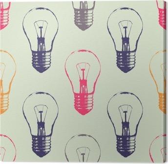 Obraz na Plátně Vektorové grunge bezproblémové vzorek s žárovkami. Moderní styl skica bederní. Idea a kreativní myšlení koncept.