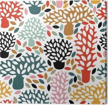 Obraz na Plátně Vektorové vícebarevný vzor bezešvé s rukou vypracován doodle stromů. Abstraktní podzimní pozadí přírody. Design pro tkaniny, textilní pádě tisky, balicí papír.