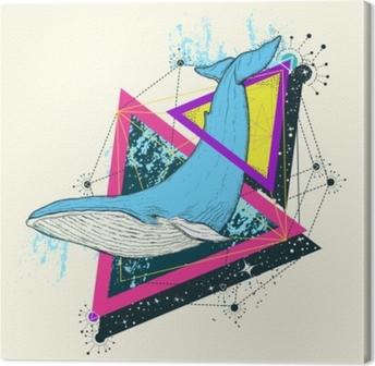 Obraz na plátně Velrybí barva tetování geometrický styl. mystický symbol  dobrodružství a84c2e2eb6