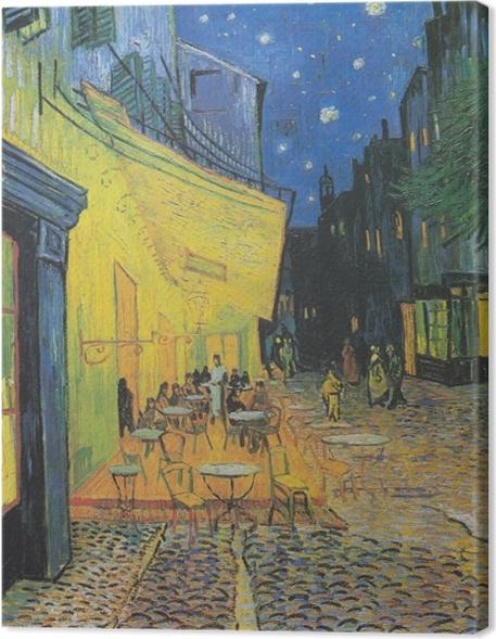 Obraz na plátně Vincent van Gogh - Cafe terasa na náměstí Place du Forum, Arles, v noci - Reproductions