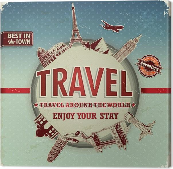 Obraz na plátně Vintage cestování po celém světě plakátu - Pozadí