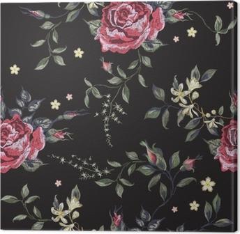 Obraz na plátně Výšivka květinové bezešvé vzor s červenými růžemi. vektor  vyšívané kytice s květinami 0270452a04