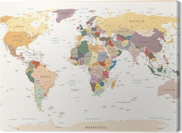 Obraz na Plátně Vysoce detailní Politické Mapa světa vintage barvy - Témata