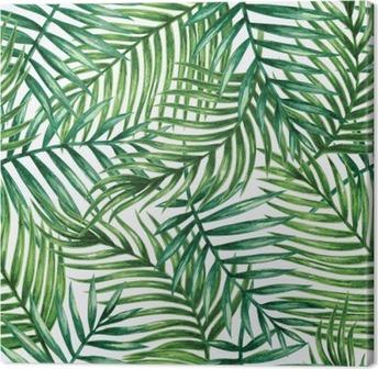 Obraz na Plátně Watercolor tropical palm leaves seamless pattern. Vector illustration.