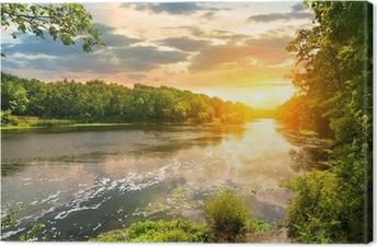 Obraz na Plátně Západ slunce nad řekou v lese