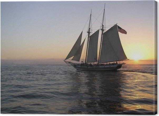 Obraz na plátně Západ slunce plachta - Amerika