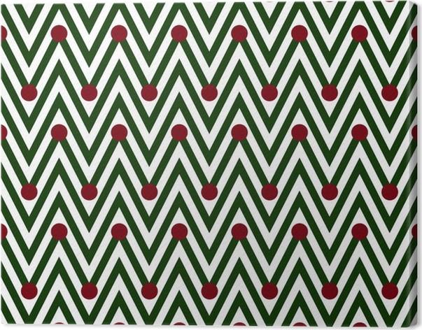 Obraz na plátně Zelené a bílé horizontální Chevron Pruhované s puntíky zázemí - Pozadí