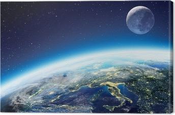 Obraz na plátně Země a Měsíc pohled z vesmíru v noci - Evropa