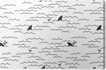 Obraz na plátně Žralok delfín bezešvé vzorec vektor velrybí oceánu doodle  ojedinělých tapety pozadí bílým 58689c9fc5