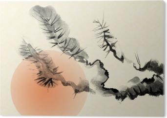 Obraz na Pleksi Gałęzie starego drzewa sosnowego, rysowane w stylu sumi-e.