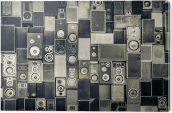 Obraz na Pleksi Głośniki Muzyka na ścianie w monochromatycznym stylu vintage