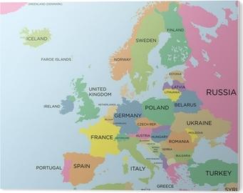 Plakat Kolorowa Mapa Polityczna Europy Pixers Zyjemy By Zmieniac