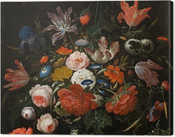 Obraz na płótnie Abraham Mignon - Flowers in a Glass Vase - Reprodukcje