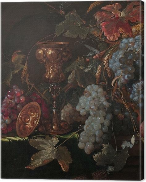 Obraz na płótnie Abraham Mignon - Grape and silverware cup on an entablature - Reprodukcje