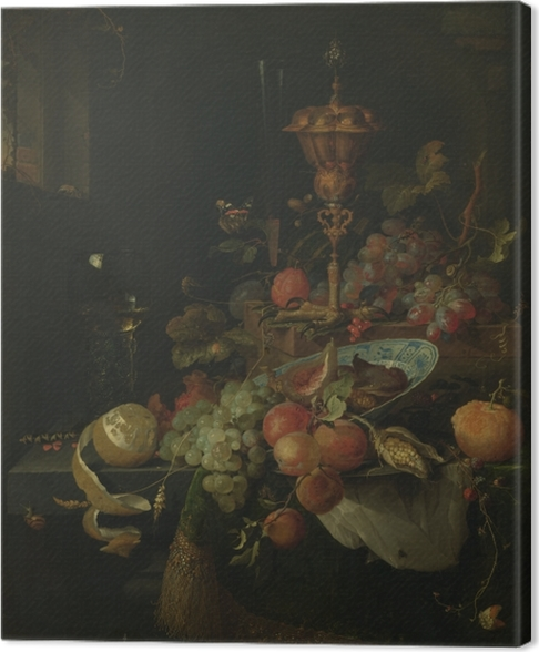 Obraz na płótnie Abraham Mignon - Still life with fruit and a bowl on a roosters leg - Reprodukcje