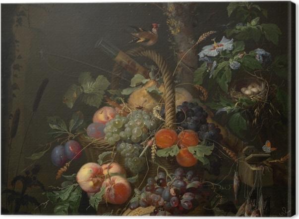 Obraz na płótnie Abraham Mignon - Still Life with Fruit, Fish and a Nest - Abraham Mignon