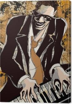 Obraz na płótnie Afro amerykański pianista jazzowy