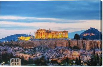 Obraz na płótnie Akropol wieczorem po zachodzie słońca