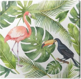 Obraz na płótnie Akwarela bezszwowe wzór z kokosa i palmy na białym tle.