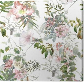 Obraz na płótnie Akwarela liści i kwiatów, szwu na białym tle