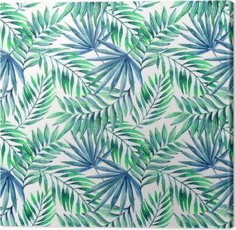Obraz na płótnie Akwarela tropikalnych liści bezszwowe wzór