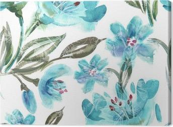 Obraz na płótnie Akwarela Turquoise Flowers Seamless Pattern