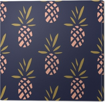 Obraz na płótnie Ananasy na ciemnym tle. Wektor bez szwu z owoców tropikalnych.
