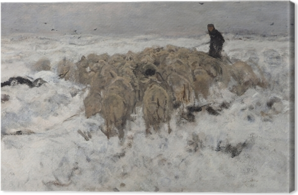 Obraz na płótnie Anton Mauve - Stado owiec z pasterzem w śniegu - Reproductions