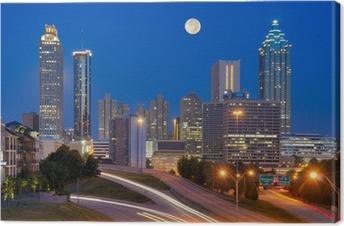 Obraz na płótnie Atlanta Skyline pod Pełni Księżyca