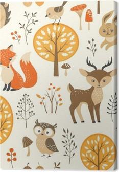 Obraz na płótnie Autumn forest szwu z uroczych zwierzątek