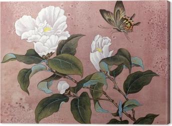 Obraz na płótnie Azalia kwiat i motyl