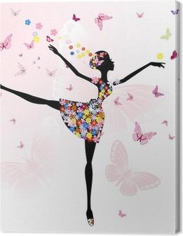Obraz na płótnie Ballerina Girl z kwiatów z motyli