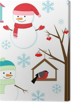 Obraz Na Plotnie Balwany Ptaki Drzewa Platki Sniegu I Birdhouses