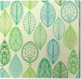 Obraz na płótnie Bez szwu wyciągnąć rękę rocznika wzór z zielonymi liśćmi ozdobnymi