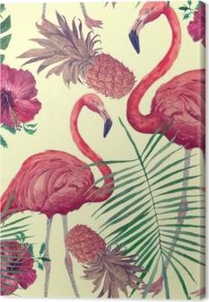 Obraz na płótnie Bezszwowe akwarela wzór z flamingo, liści, kwiatów. Han ciągnął.