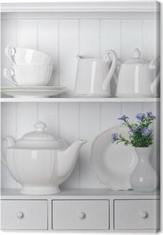 Obraz na płótnie Biała półka z rocznika stołowej porcelany