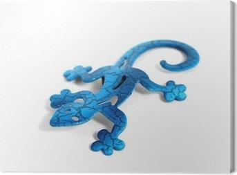 Obraz na płótnie Blue metal jaszczurka