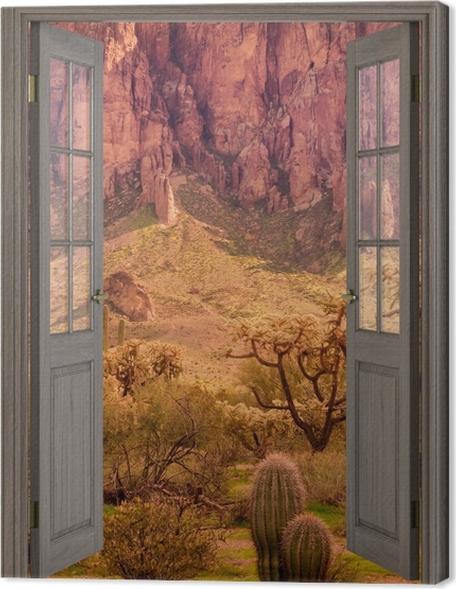 Obraz na płótnie Brązowe drzwi - Arizona -